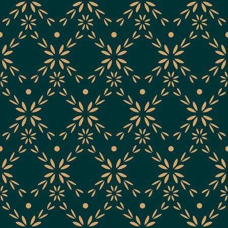 Luxury Flower Seamless Pattern Background Wallpaper. Combination colors of gold, and dark green. Floral Pattern for interiors, card, greeting, wedding and more.
