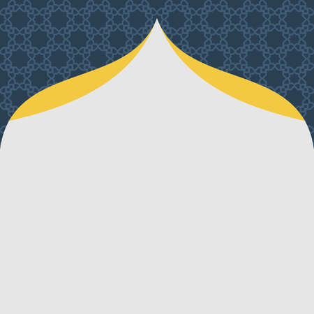 Simple Islamic Arabic Ornament Square Frame Template with elegant pattern background. Combination colors of gray, blue, and yellow. Design Template for invitation, cards, poster, flyer and more.