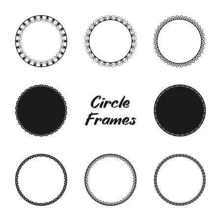 Simple Decorative Circle Frames Set. Elements for design card, badge, stamp, and more. Round Frames.