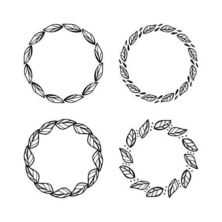 Doodle Leaf Circle Frames Set. Elements for Design label, badge, packaging, invitation, card and more. Monochrome Flat Color Design.