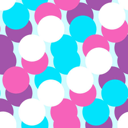 Simple Bubble circle confetti Seamless Pattern Background Wallpaper. Combination colors of white, blue, pink, and purple. Happy Pattern for Textile, card, fabric, paper, interior, decor and more. Illusztráció