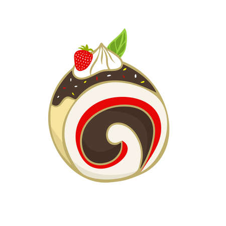 Slice of Strawberry Swiss Roll Cake Vector flat Illustration. Roll Cake with chocolate flavors. Element bakery design for advertising, paper, and more.