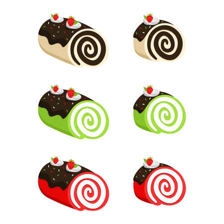 Set of Strawberry Swiss Roll Cake Vector flat Illustration. Roll Cake with flavors of chocolate, green tea, and red velvet. Element bakery design for advertising, paper, and more.