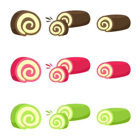 Set of Swiss Roll Cake Vector flat Illustration. Roll Cake with flavors of chocolate, green tea, and red velvet. Element bakery design for advertising, paper, and more. Illustration