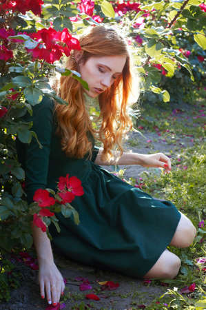 admiring: Beautiful young caucasian woman with auburn hair, freckles and green eyes sitting in the rose garden