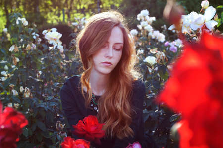 auburn hair: Young caucasian woman with auburn hair sitting in the rose garden in the sunset light