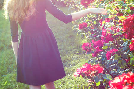 carroty: young woman walking near blooming rose bushes Stock Photo