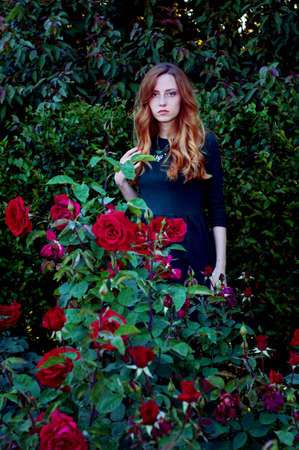 admiring: Mysterious caucasian woman with green eyes and green dress looking at the camera surrounded by scarlet roses
