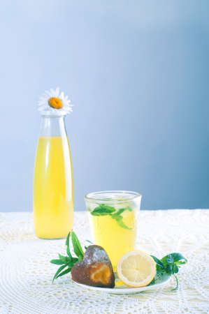 mint leaves: Summer drinks. Fresh cold lemonade with mint leaves and cookies.