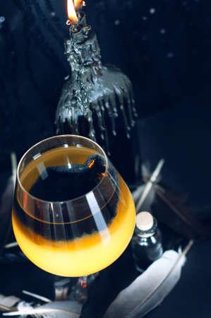 potion: Magic potion preparation. Halloween drinks. Stock Photo