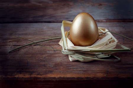 Golden egg on wooden table in straw nest closeup
