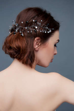 strapless: Bridal fashion. View from the back. Strapless dress with lacing.