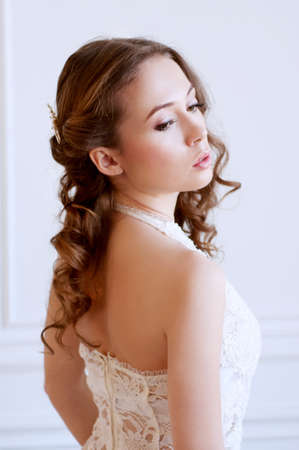 adult mermaid: Beautiful  bride wearing with wavy brown long hair