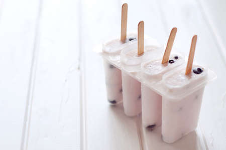 wooden stick: Ice cream with yogurt and blueberries in ice lolly mold with wooden sticks. Shallow depth of field.