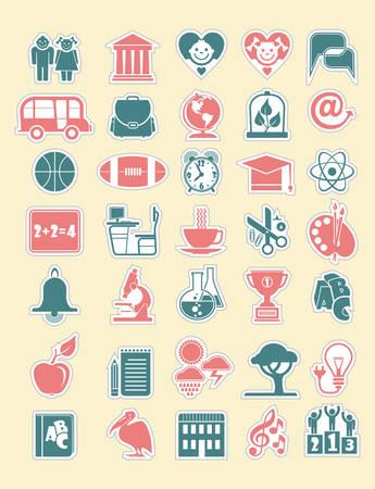 intermediate: School and Education Icon Set. Illustration