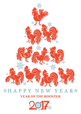 New year card red roosters. 2017. Year of the rooster. Vector illustration.