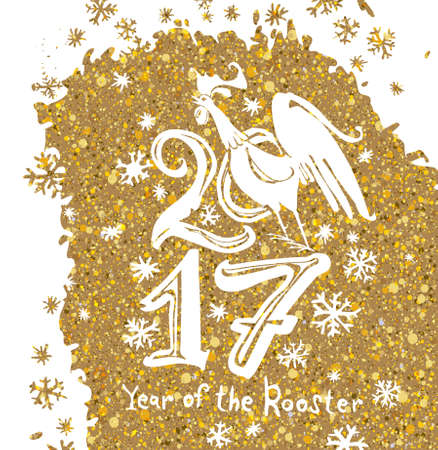 White Christmas pattern on gold. Year of the rooster. 2017. Pattern snow rooster on yellow-gold.