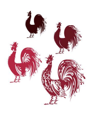 Decorative Rooster. Vector image of a beautiful bird. Four silhouette, from simple to richly decorated.