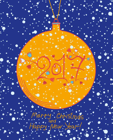 cheeky: Big yellow Christmas ball. 2017. Cute card for the New Year.