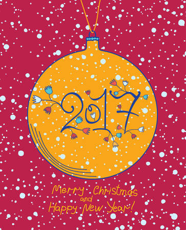 Yellow Christmas ball 2017. Cute card for the New Year.
