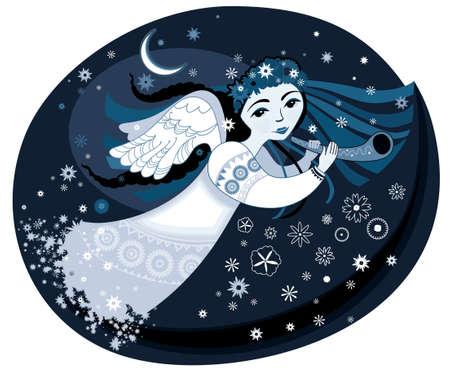 Beautiful angel flying through the night sky. Vector illustration.