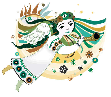 Spring angel flying with the trumpet. Vector illustration.