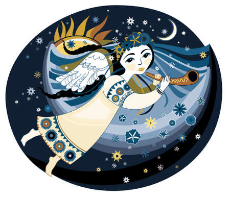 Beautiful angel with the trumpet flying in the night sky clouds. Vector illustration. Illustration
