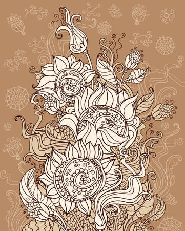 fertile: Fertile sunflowers. Decorative floral illustration.
