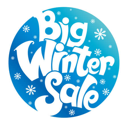Big winter sale. Stylish vector template. Font circle design. Vectores