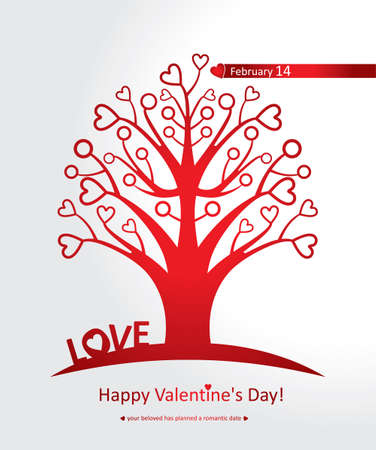 love tree: Red Love Tree. Happy Valentines Day. Illustration