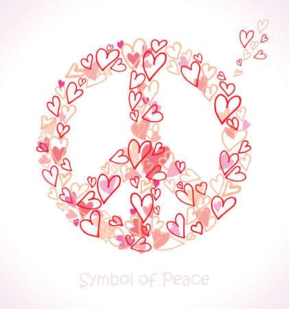Beautiful symbol of peace. Symbol of Peace. Hearts.