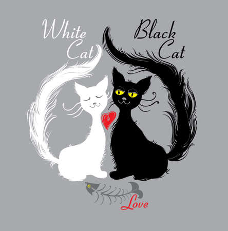 White cat, black cat. love. Pair cats ate tasty fish. Funny illustration.