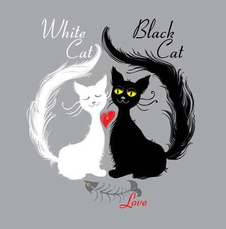 White cat, black cat. love. Pair cats ate tasty fish. Funny illustration.