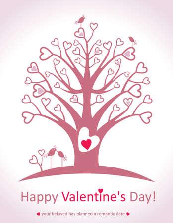 love tree: Happy Valentines Day. love tree. Illustration