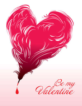 Be My Valentine / original card with a heart of writing pen Ilustração