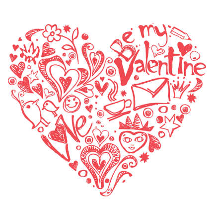 Painted heart romantic elements.