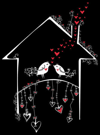 housewarming: Birds in the house. Two birds in the house. An amusing illustration of Valentines Day. Illustration