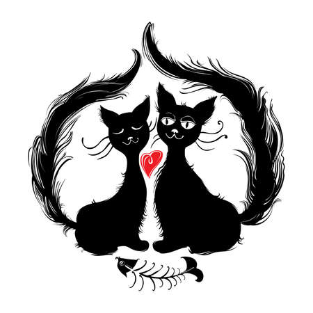 Cats. Romantic dinner. Pair cats ate tasty fish. Funny illustration of Valentines Day.