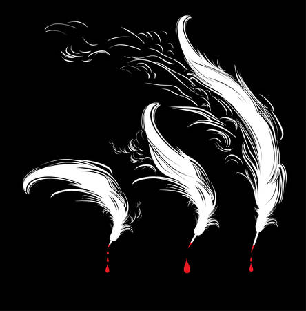 Feathers and blood. White feathers and red drops on a black background.