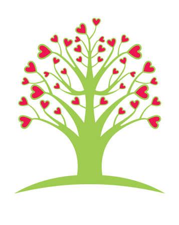 Love tree. Flat vector template.