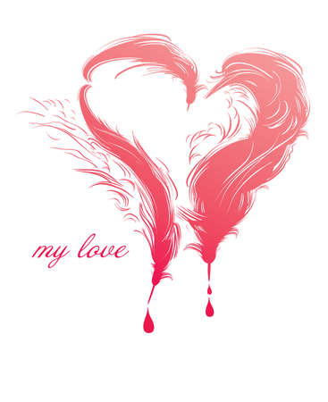 My love. The original card with a heart of writing feather. Illustration