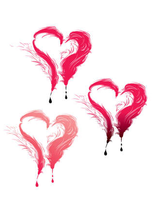 Three hearts and feathers and drops.