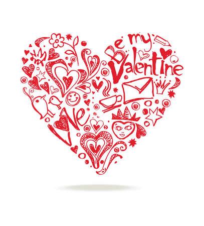 Heart Shape composed of hand drawn design romantic elements. Illustration