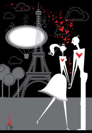 date night: Passionate lovers in Paris. Romantic night in Paris. Illustration