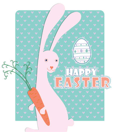 Easter Bunny. Cute card with the Easter Bunny, who loves carrots.