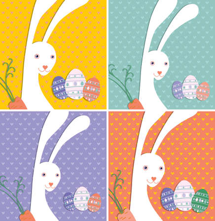 albino: Cute card with the Easter Bunny and Easter eggs on a colorful background with hearts.