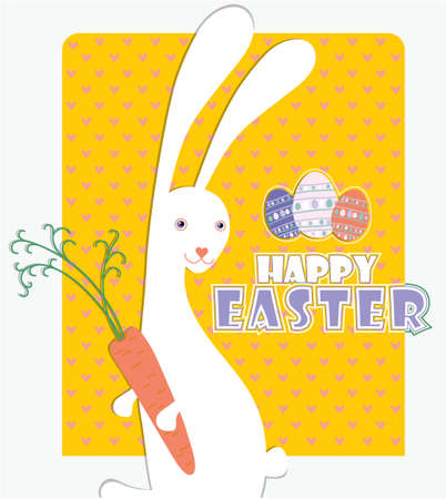 who: Cute card with Easter Bunny, who loves carrots. Illustration