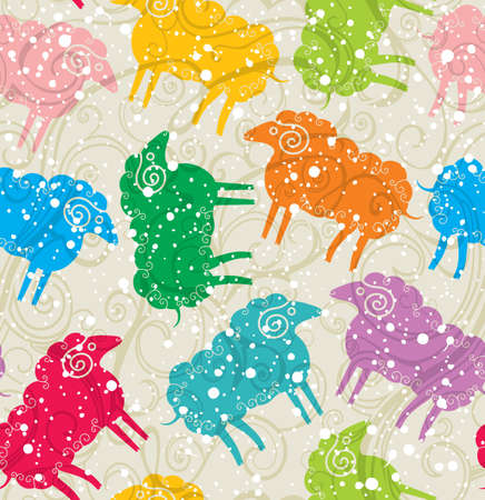 Seamless colorful sheep under the snow.