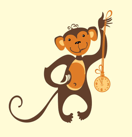 Funny monkey clock. Vector illustration. Illustration
