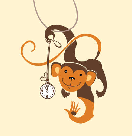 Funny monkey dabbles with the clock. Vector illustration. Illustration